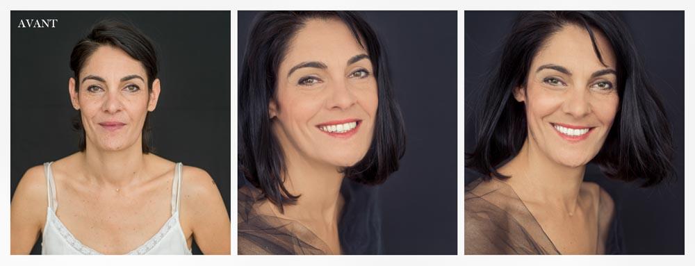 portrait de femme avant après de 45 ans