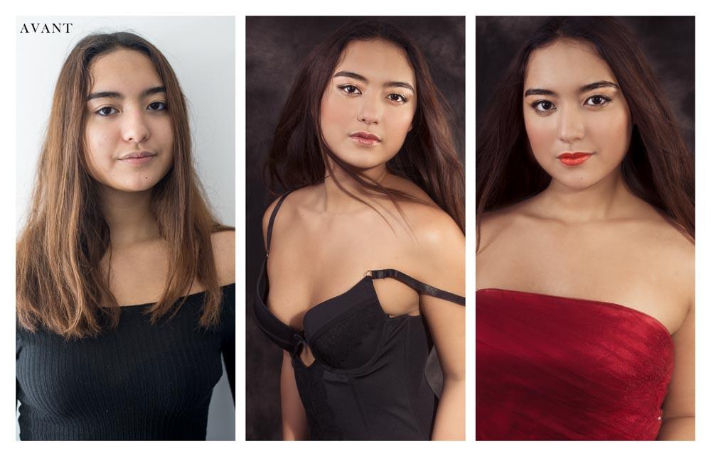 photographie portrait glamour de jeune fille 17 ans avant après