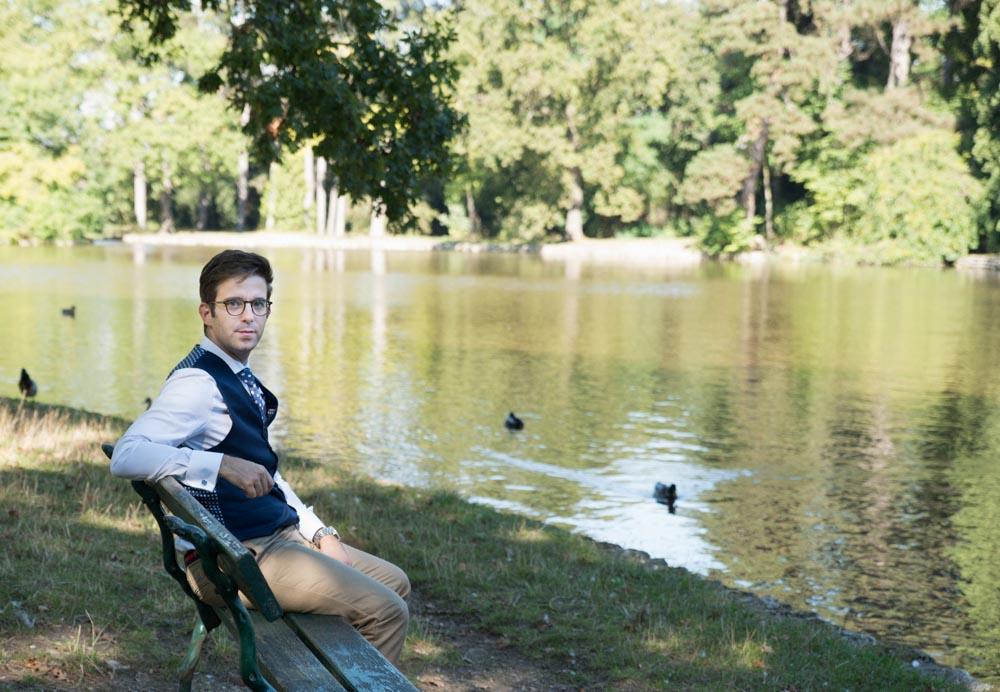 photo de famille le père dans le parc du bois de boulogne